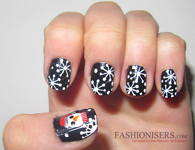 New Year's Eve Nail Art Designs - Snowflakes Nails
