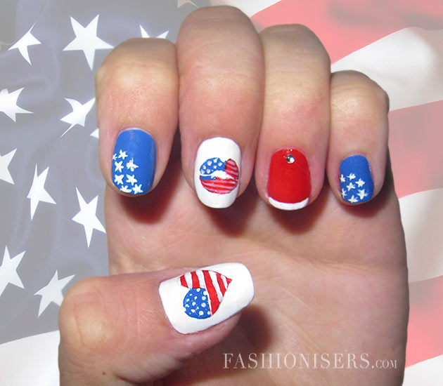 Fourth of july nail art designs fashionisers fourth of july nail art designs prinsesfo Choice Image