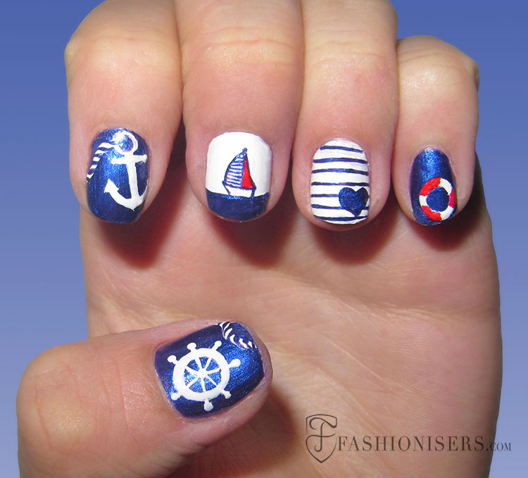 20 Fun Summer Nail Art Designs - 20 Fun Summer Nail Art Designs  Fashionisers - Nautical - Nautical Nail Designs Graham Reid