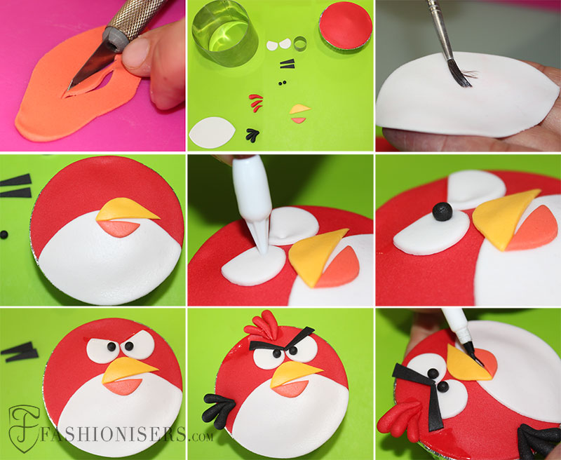 Angry Birds Red Bird Gumpaste Cupcake Decorating Tutorial