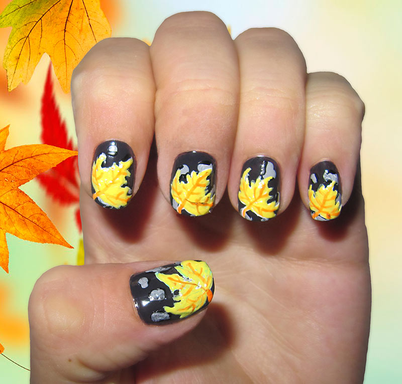 Fall Leaves Nail Art Designs