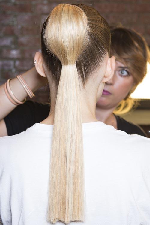 Spring/ Summer 2015 Trendy Ponytail Hairstyles: Cushnie et Ochs Segmented Ponytails