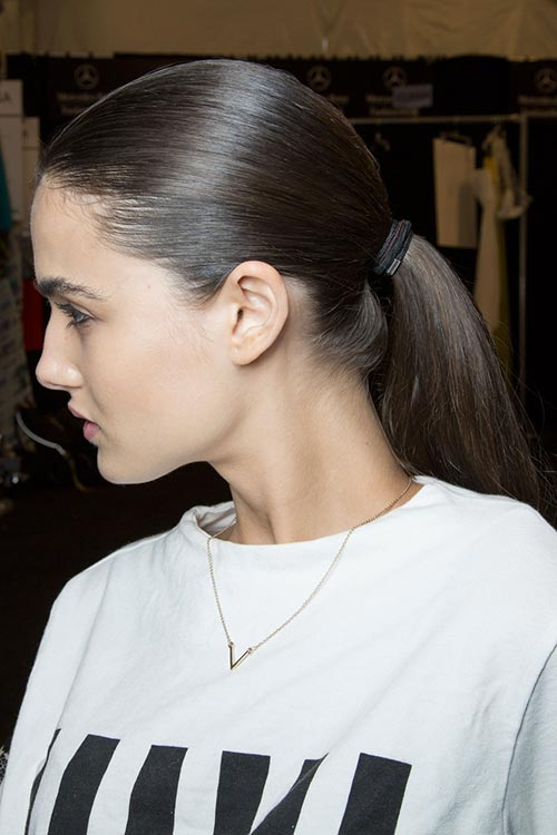 Spring/ Summer 2015 Trendy Ponytail Hairstyles: J. Mendel Sleek Mid-Height Ponytails