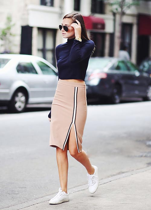 Stylish Ways of Wearing Skirts with Sneakers