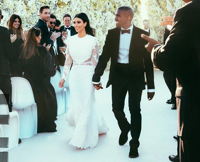 10 of the Most Unique Celebrity Wedding Dresses: Kim Kardashian