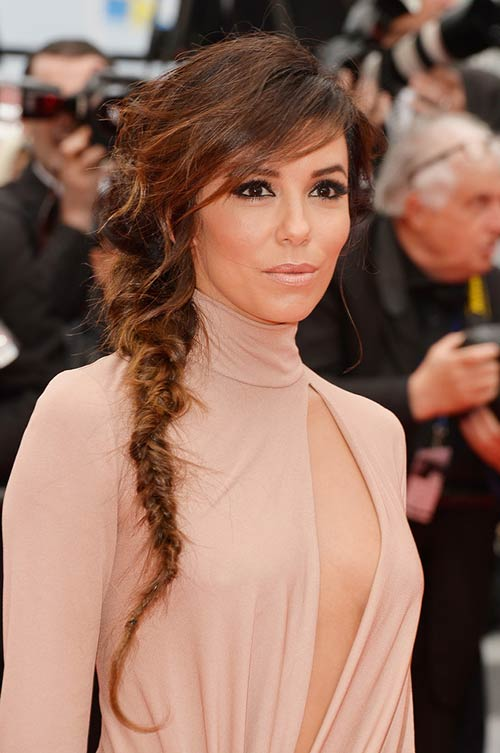 10 Trendy Braided Holiday Hairstyles: Eva Longoria Mermaid Braid