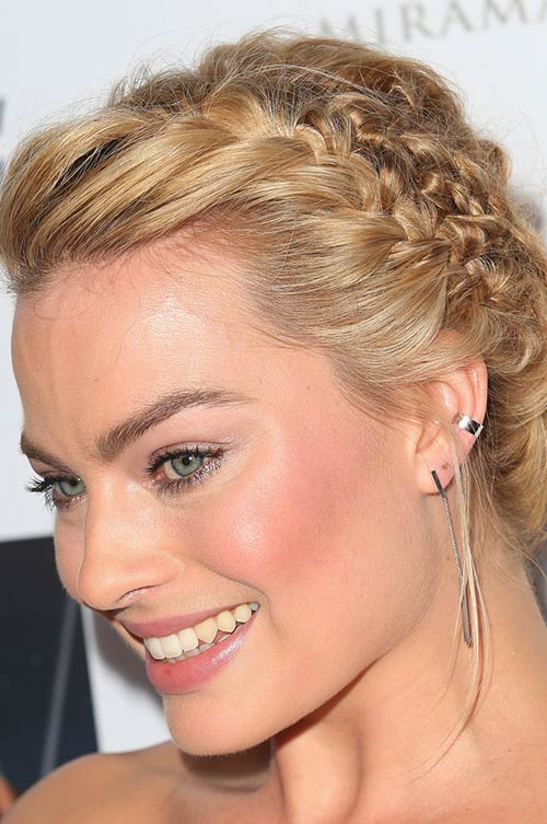 10 Trendy Braided Holiday Hairstyles: Margot Robbie Textured Side-Braided Updo