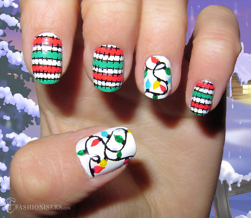 19 Unique Holiday Nail Art Designs: Christmas Lights Nails