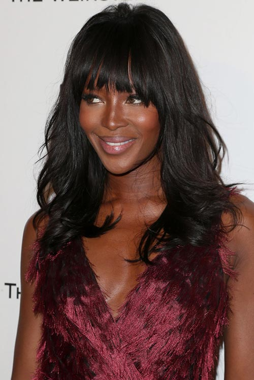 2015 Stylish Celebrity Hairstyles: Naomi Campbell Wavy Hair With Bangs
