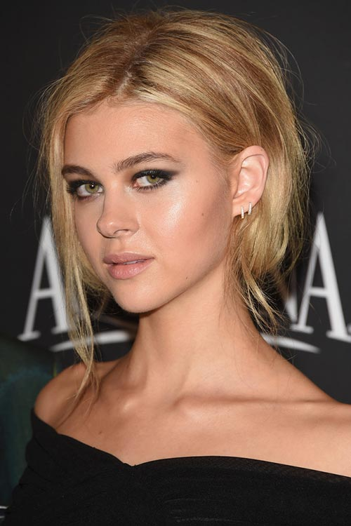 2015 Stylish Celebrity Hairstyles: Nicola Peltz Messy Bobby Pinned Updo
