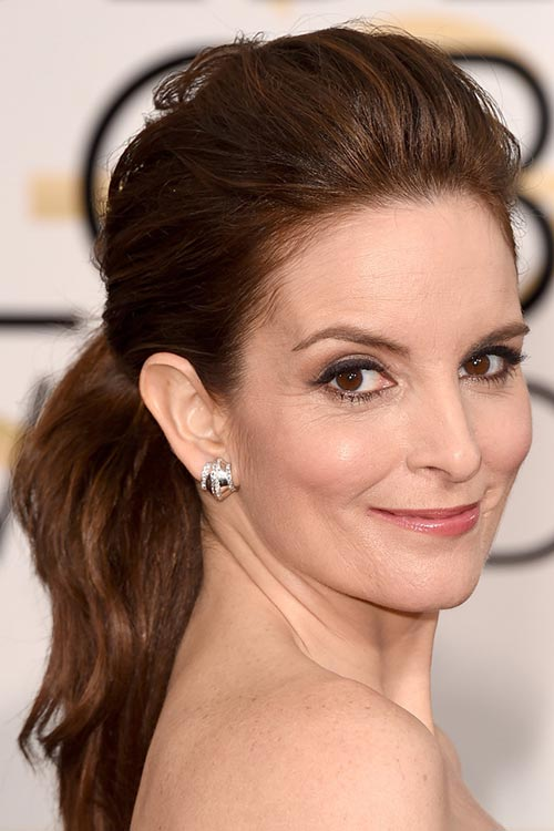 2015 Stylish Celebrity Hairstyles: Tina Fey Pompadour Ponytail