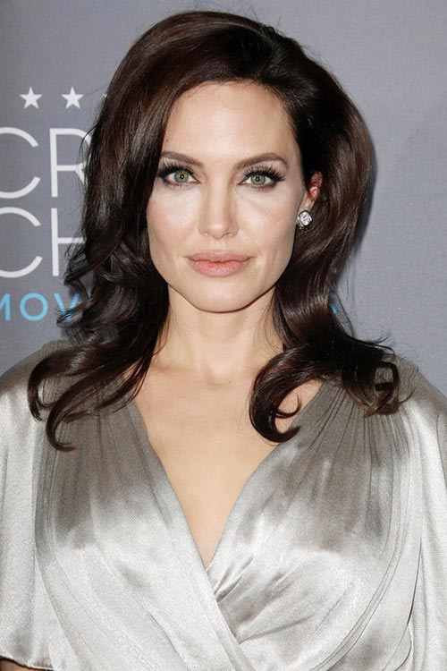 Critics' Choice Awards 2015 Best Hairstyles and Makeup Looks: Angelina Jolie
