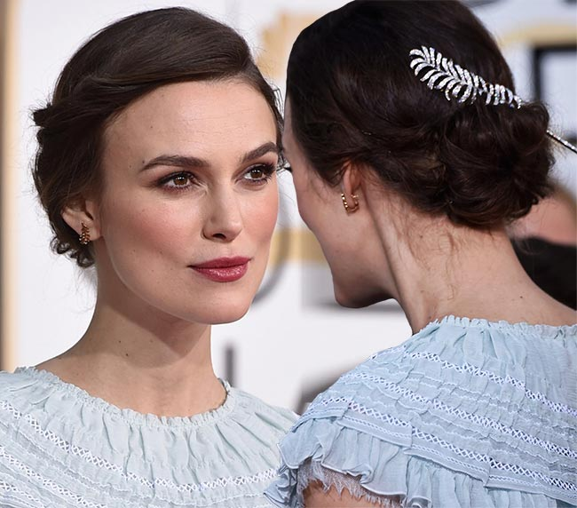 Golden Globes 2015 Celebrity Hairstyles and Makeup: Keira Knightley