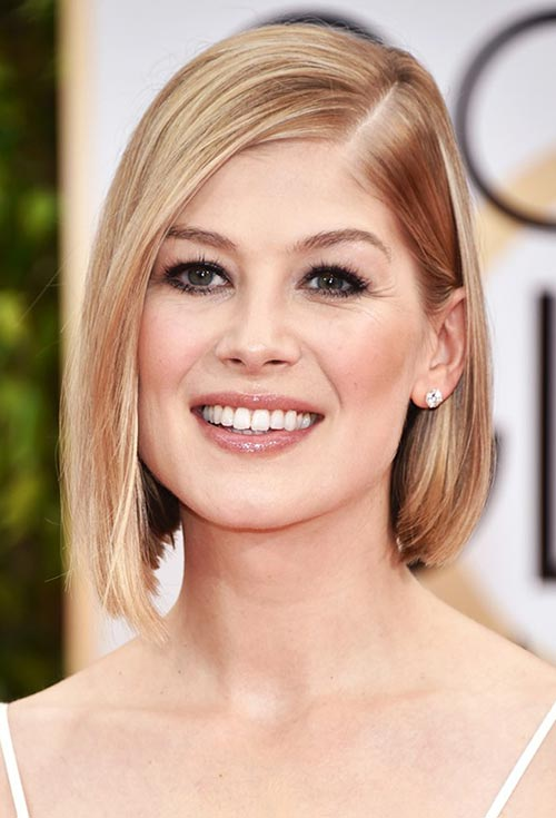 Golden Globes 2015 Celebrity Hairstyles and Makeup: Rosamund Pike