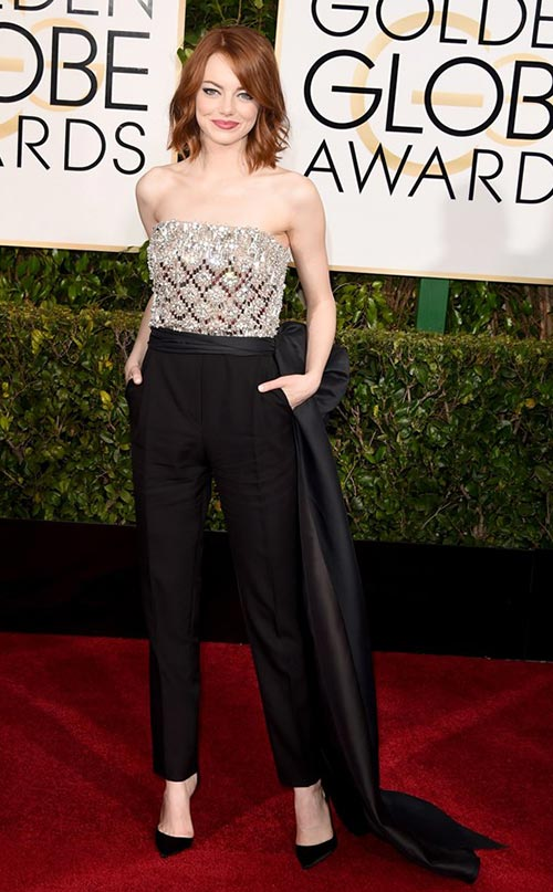 Emma Stone at Golden Globes 2015