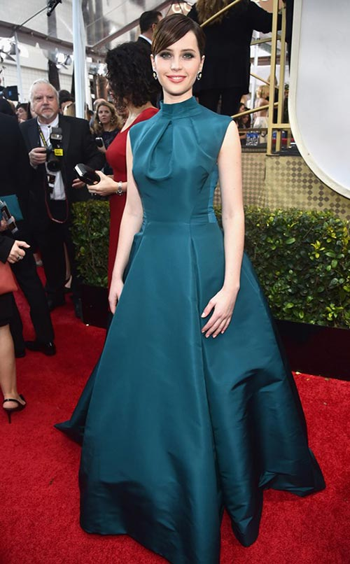 Felicity Jones at Golden Globes 2015