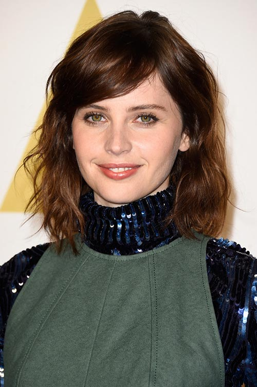 Trendy Hair Colors for Spring 2015: Felicity Jones Black Hair