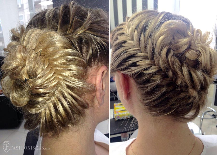 5 Pretty Braided Hairstyles for Summer: Fishtail Braided Bun