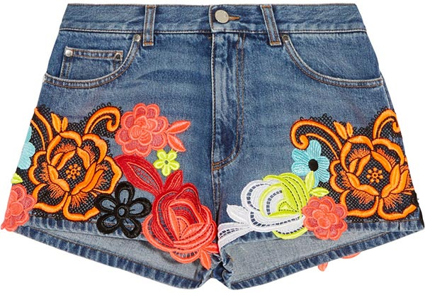 Summer 2015 Trendy Denim Shorts: Christopher Kane Floral Shorts