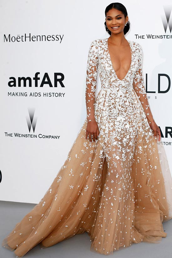 Cannes 2015 amfAR Gala Red Carpet Fashion: Chanel Iman