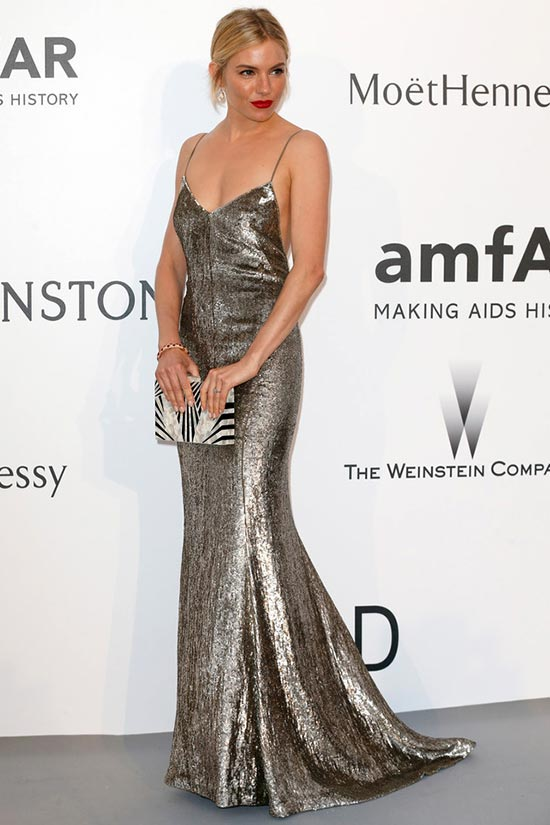 Cannes 2015 amfAR Gala Red Carpet Fashion: Sienna Miller