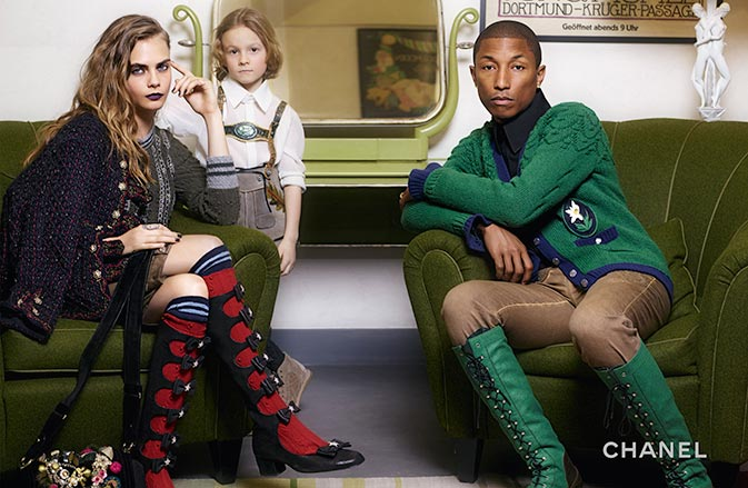 Cara Delevingne and Pharrell for Chanel Pre-Fall 2015 Campaign