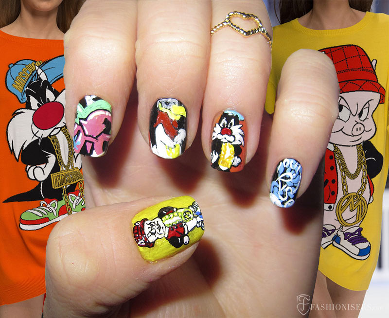 Fall 2015 Runway Inspired Nail Art Designs: Moschino