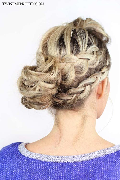10 Hot Weather Hairstyles: Double Braided Messy Bun