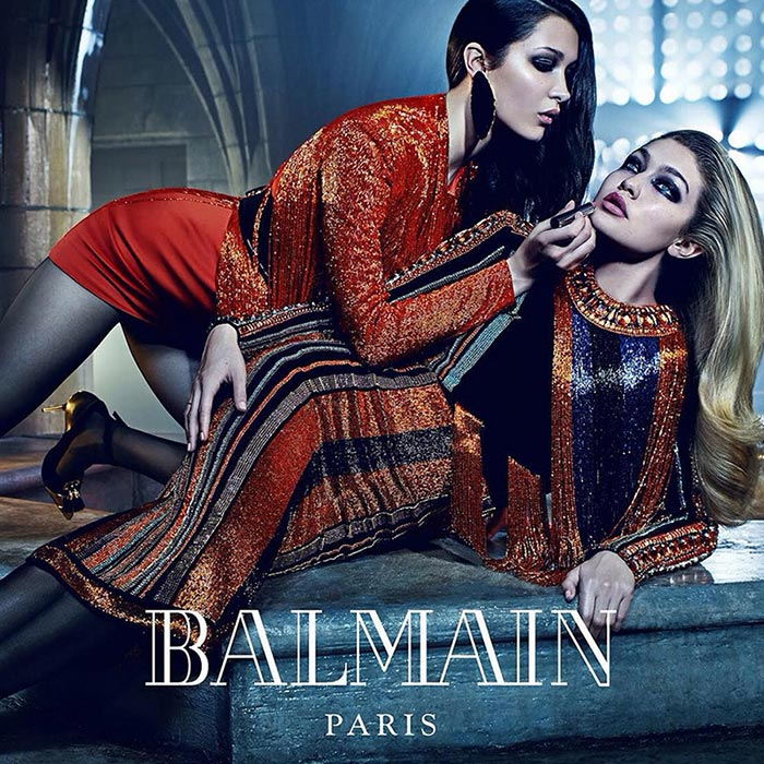 Bella and Gigi Hadid for Balmain Fall 2015 Campaign