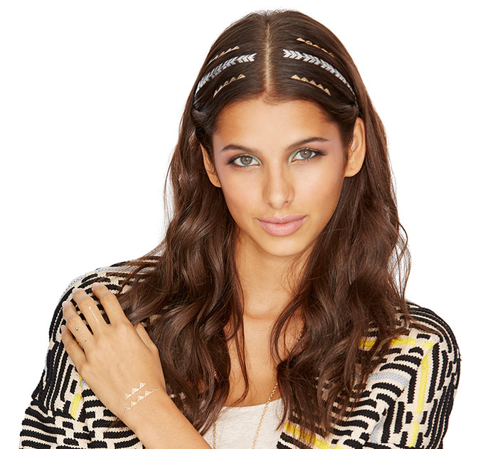 Temporary Metallic Hair Tattoos
