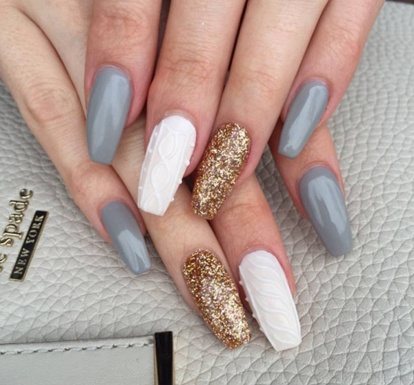 Textured Cable Knit Sweater Nails