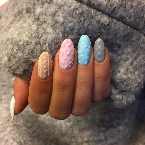 Cable Knit Sweater Nail Art Trend