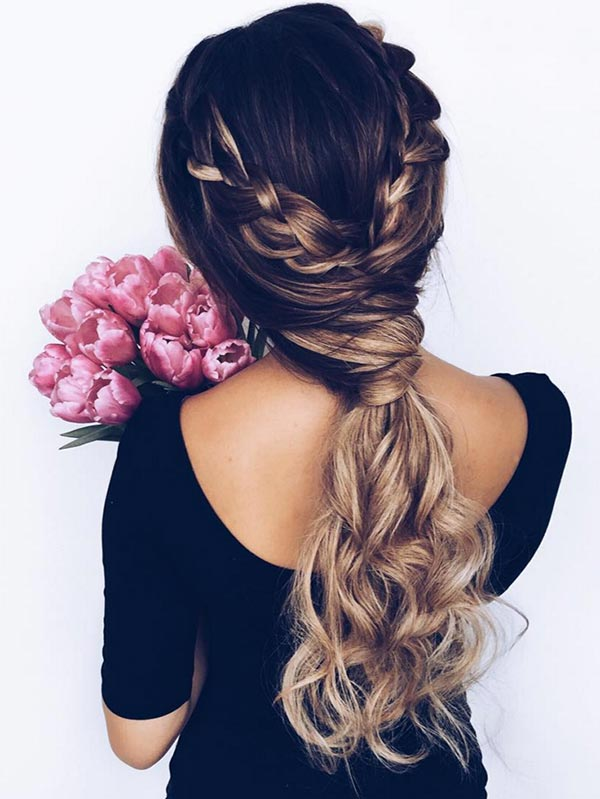 Trendiest Braided Hairstyles 2016: Braid Wrapped Criss-Cross Low Ponytail