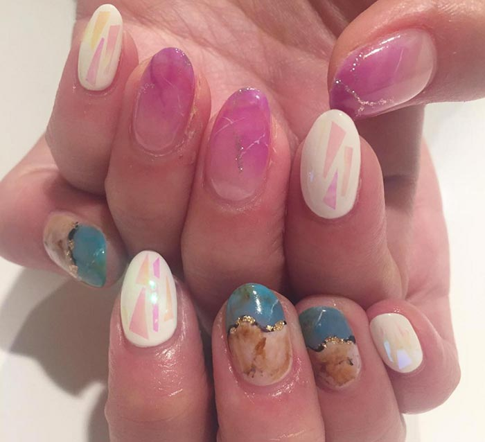 Marble/ Stone Nail Art Designs