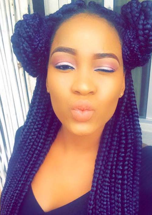 Awesome Box Braids Hairstyles: Double Bun Box Braids
