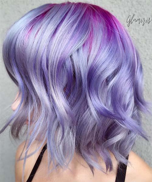 Short Hairstyles for Women: Lavender Balayage Bob