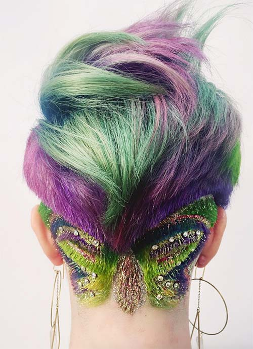 Short Hairstyles for Women: Undercut with Butterfly Hair Tattoo