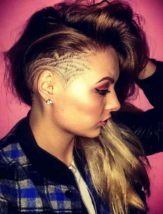 Womenu0027s Long Undercut Hairstyles With Hair Tattoos