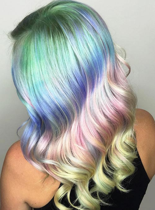 Pastel and Neon Hair Colors in Balayage and Ombre: Pastel Ombre Hair