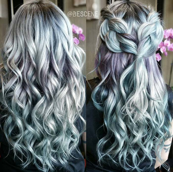 Pastel and Neon Hair Colors in Balayage and Ombre: Metallic Pastel Hair