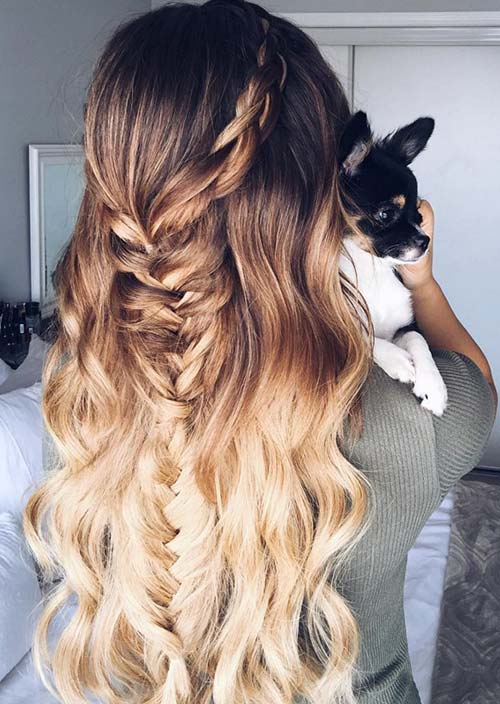 100 Trendy Long Hairstyles for Women: Half Up Half Down Fishtail Braid