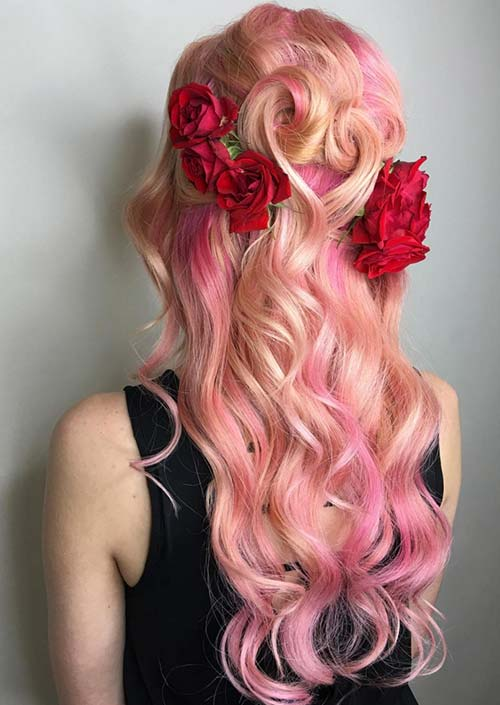 100 Trendy Long Hairstyles for Women: Curly Pink Hair