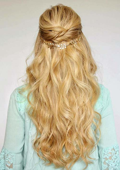 100 Trendy Long Hairstyles for Women: Half Up Pinned Updo