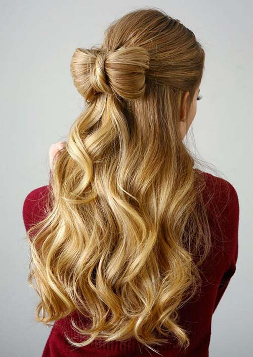100 Trendy Long Hairstyles for Women: Half-Up Hair Bow