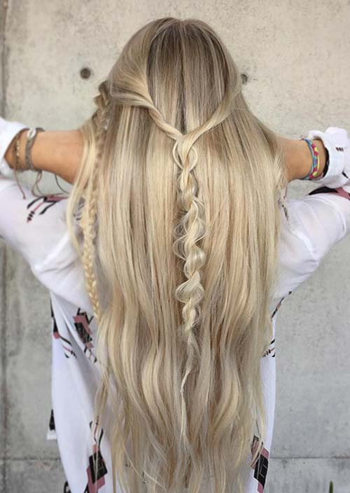 100 Trendy Long Hairstyles for Women: Twisted Braid Half Updo