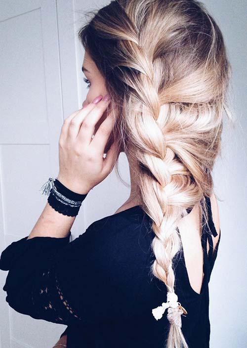 100 Trendy Long Hairstyles for Women: Pulled Side Braid