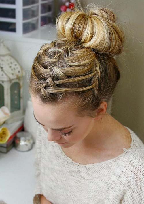 100 Trendy Long Hairstyles For Women: Triple Braid French Bun