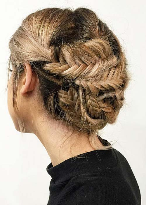 100 Trendy Long Hairstyles for Women: Fishtail Braided Updo
