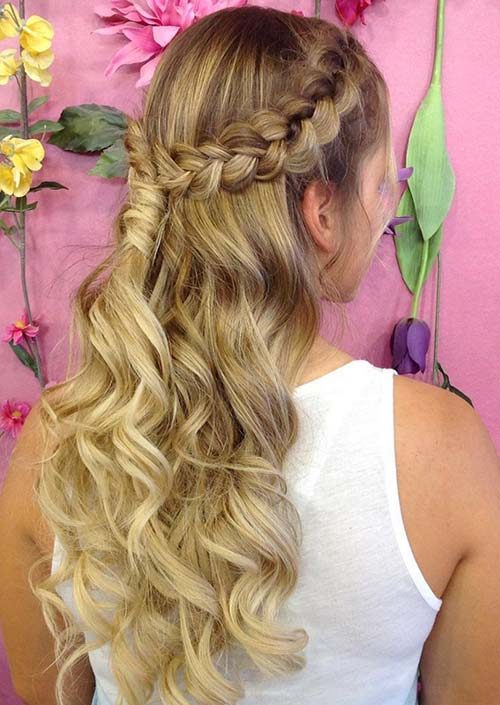 100 Trendy Long Hairstyles for Women: Curly Pinned Back Braided Half Updo