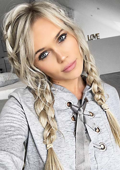 100 Trendy Long Hairstyles for Women: Braided Pigtails